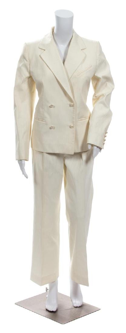 A Chanel Cream Ribbed Pant Suit,