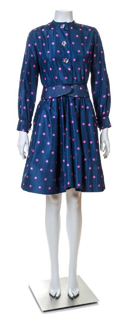 A Galanos Navy and Pink Silk Polka Dot Dress,