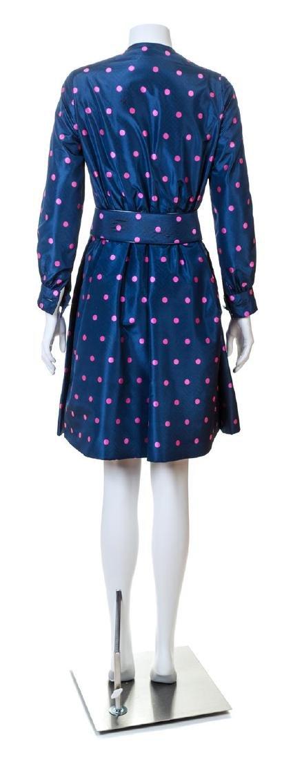 A Galanos Navy and Pink Silk Polka Dot Dress, - 2