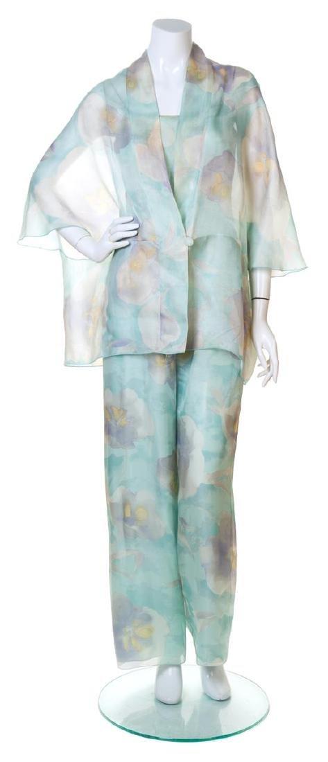 A Giorgio Armani Silk Floral Jumpsuit and Capelet,