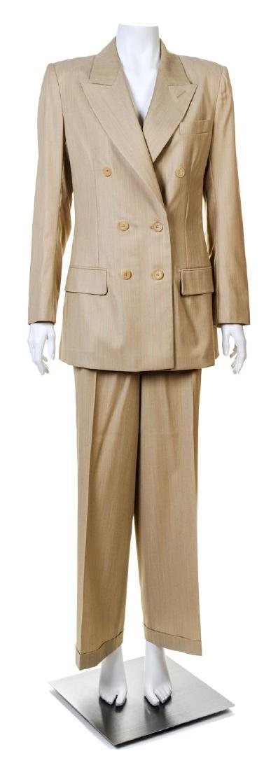A Givenchy Tan Wool Pinstripe Pant Suit,