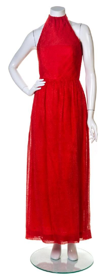 A Givenchy Red Silk Halter Gown