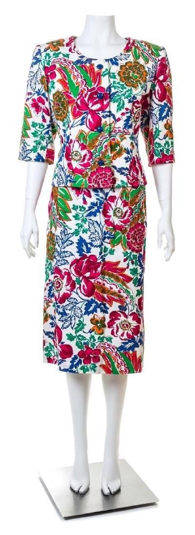 A Givenchy Multicolor Floral Jacket and Skirt Set,