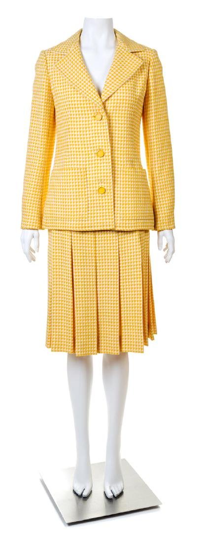 A Givenchy Yellow and Cream Wool Herringbone Jacket and