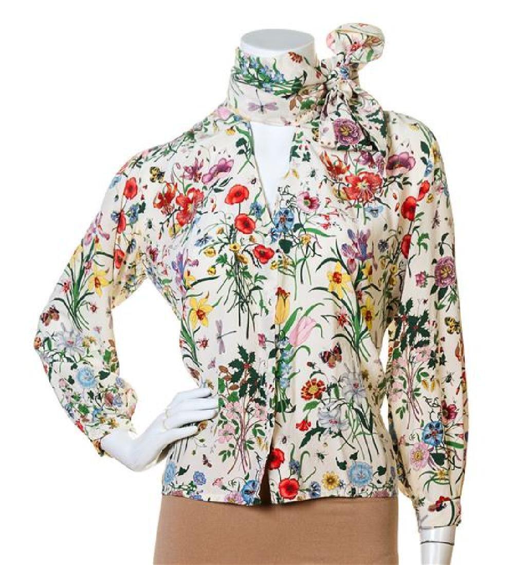 A Gucci Cream Silk Floral Sheer Blouse,
