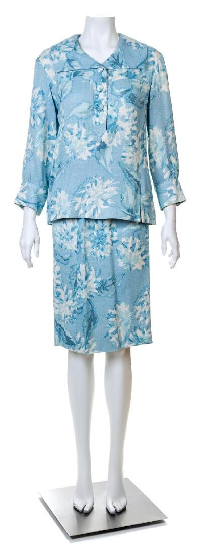 A Guy LaRoche Blue Floral Jacket and Skirt Set,