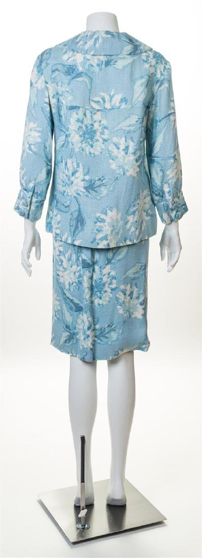 A Guy LaRoche Blue Floral Jacket and Skirt Set, - 2