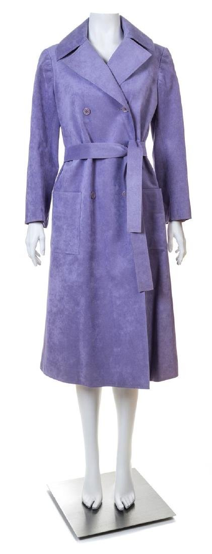 A Halston Lavender Ultra Suede Double Breasted Coat,