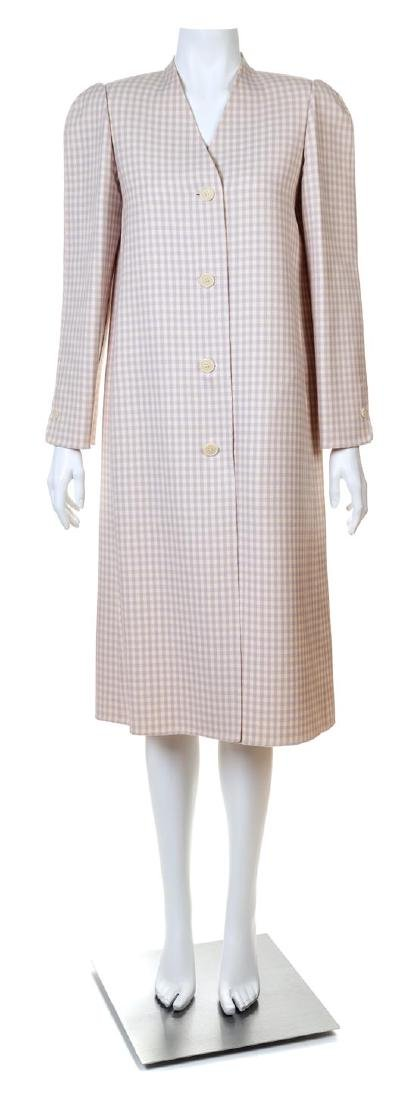 A Halston Lavender and Cream Wool Check Coat,