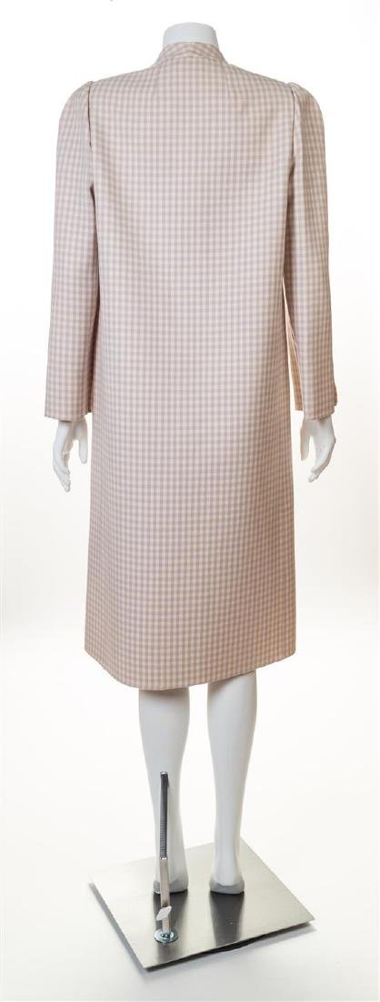A Halston Lavender and Cream Wool Check Coat, - 2