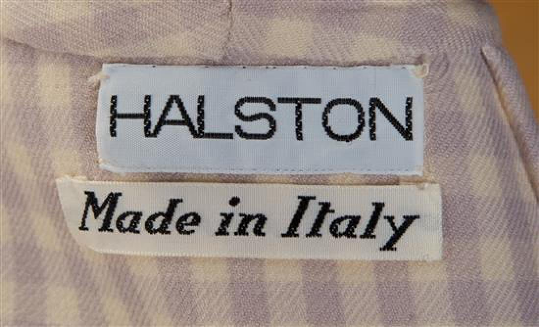 A Halston Lavender and Cream Wool Check Coat, - 3