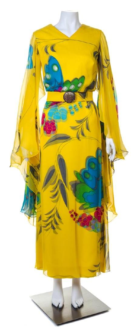 A Hanae Mori Yellow Silk Chiffon Caftan Dress,