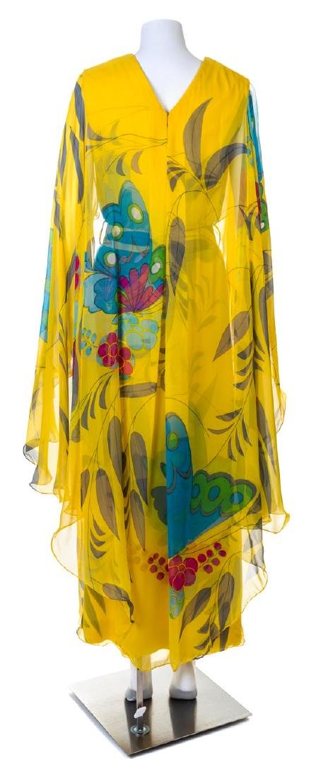 A Hanae Mori Yellow Silk Chiffon Caftan Dress, - 2