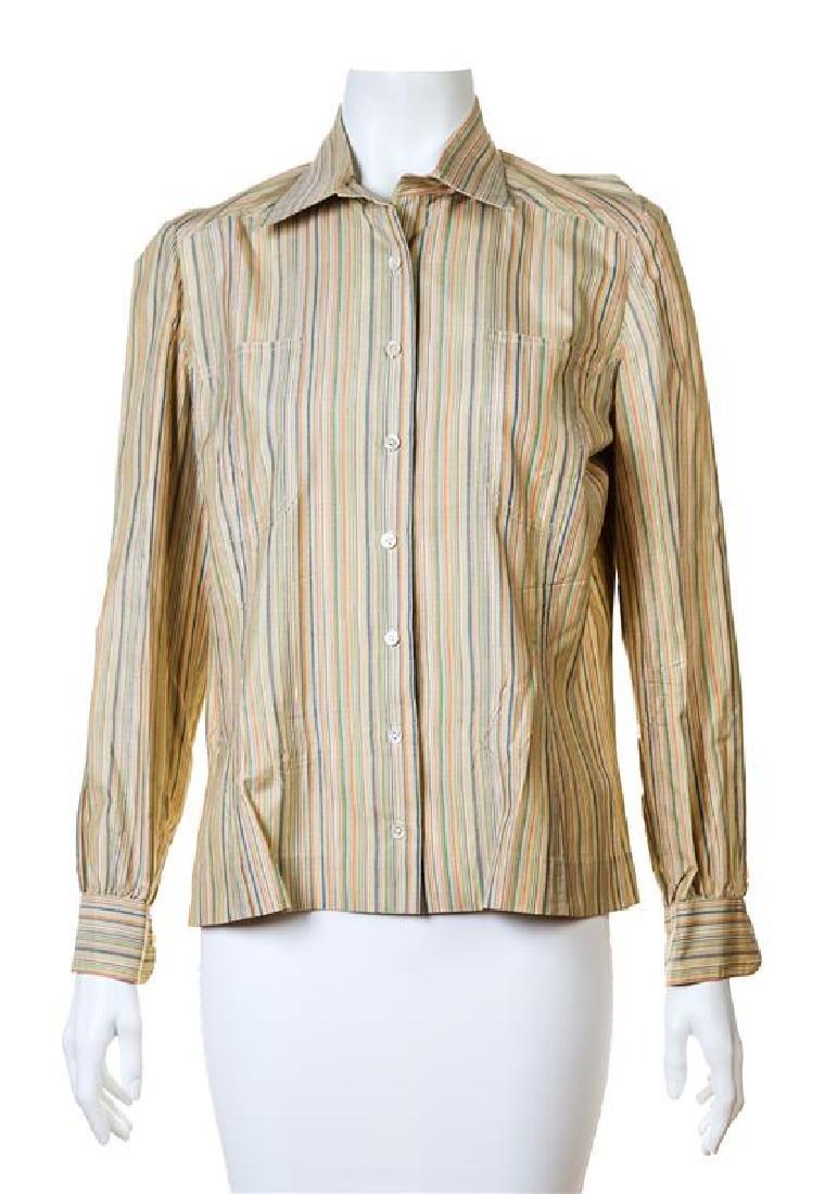 An Hermes Silk Striped Blouse,