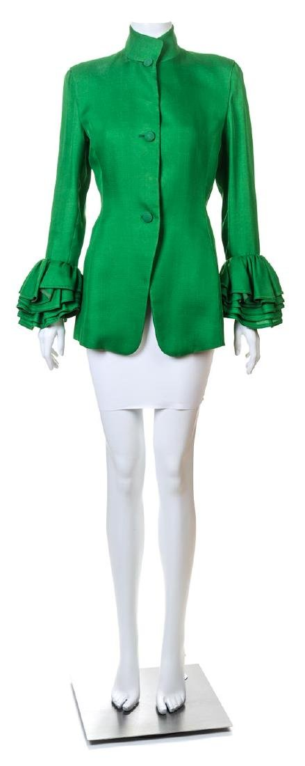 A Isaac Mizrahi Green Silk Jacket,