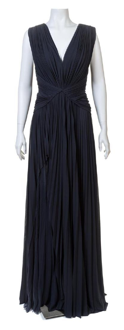 A J. Mendel Navy Jersey Starburst Sleeveless Pleated