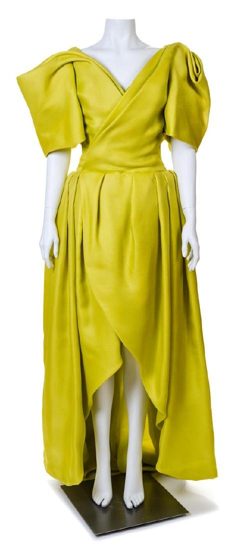 A Jacqueline de Ribes Chartreuse Raw Silk Gown,