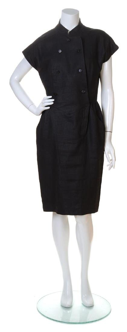 A Karl Lagerfeld Black Linen Double Breasted Dress,