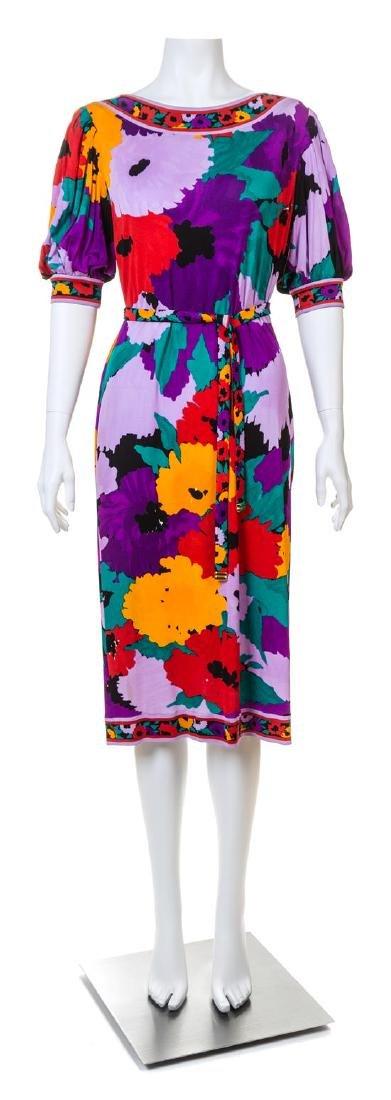 A Leonard Purple Silk Floral Dress,