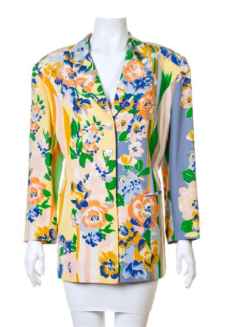 A Louis Feraud Multicolor Silk Floral Jacket,