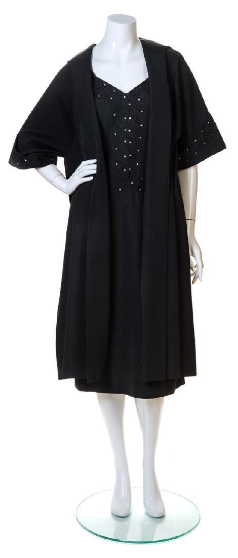 A Lilli Diamond Black Silk Dress and Coat Ensemble,