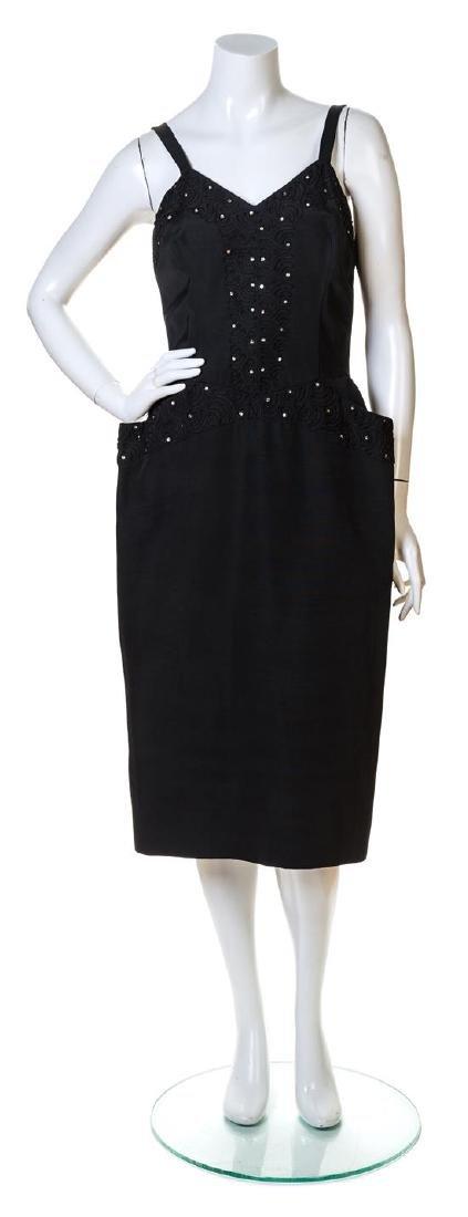 A Lilli Diamond Black Silk Dress and Coat Ensemble, - 2