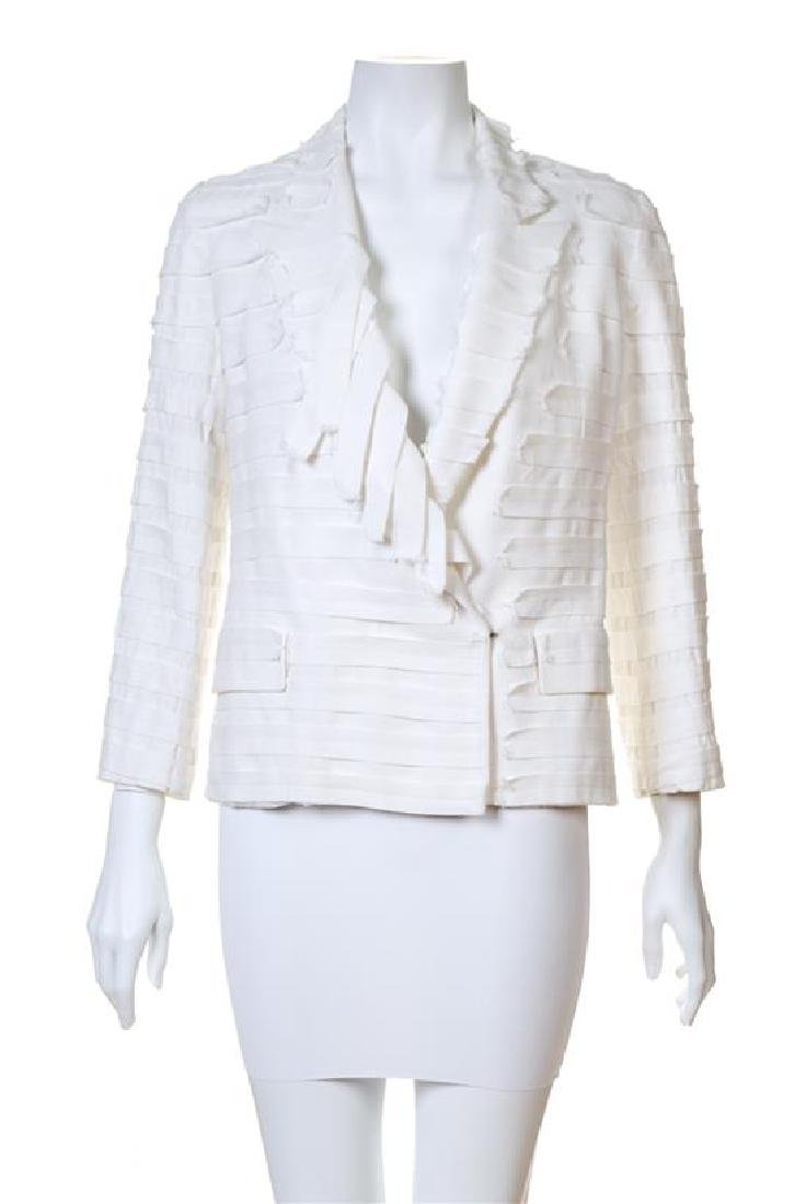 A Maison Margiela White Cotton Textured Jacket,