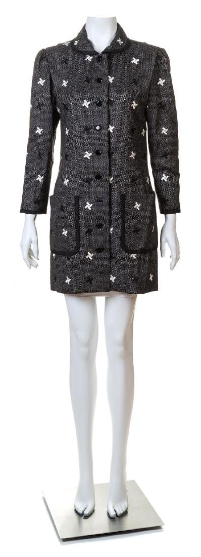 A Michael Novarese Black and White Patterned Coat,