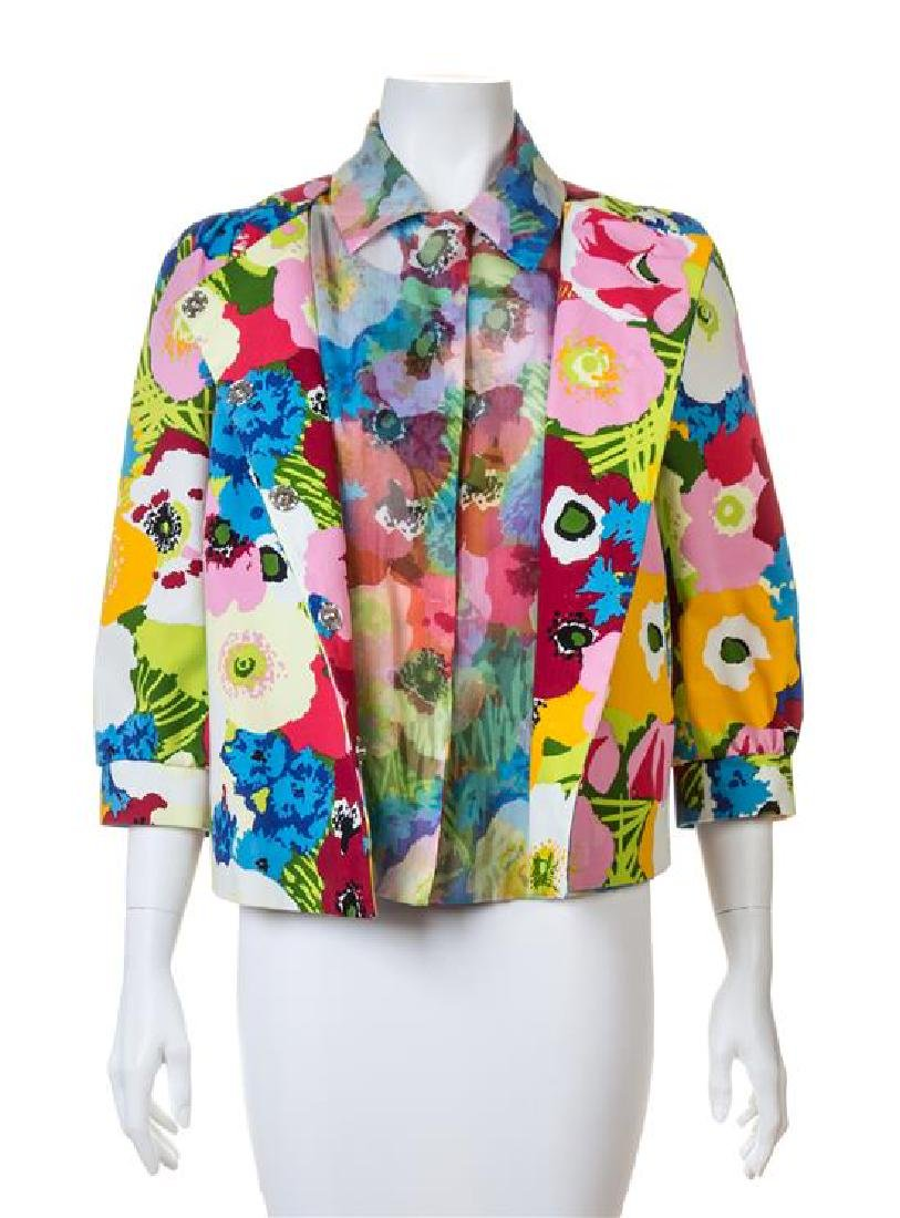 A Moschino Bright Floral Cotton Print Jacket and