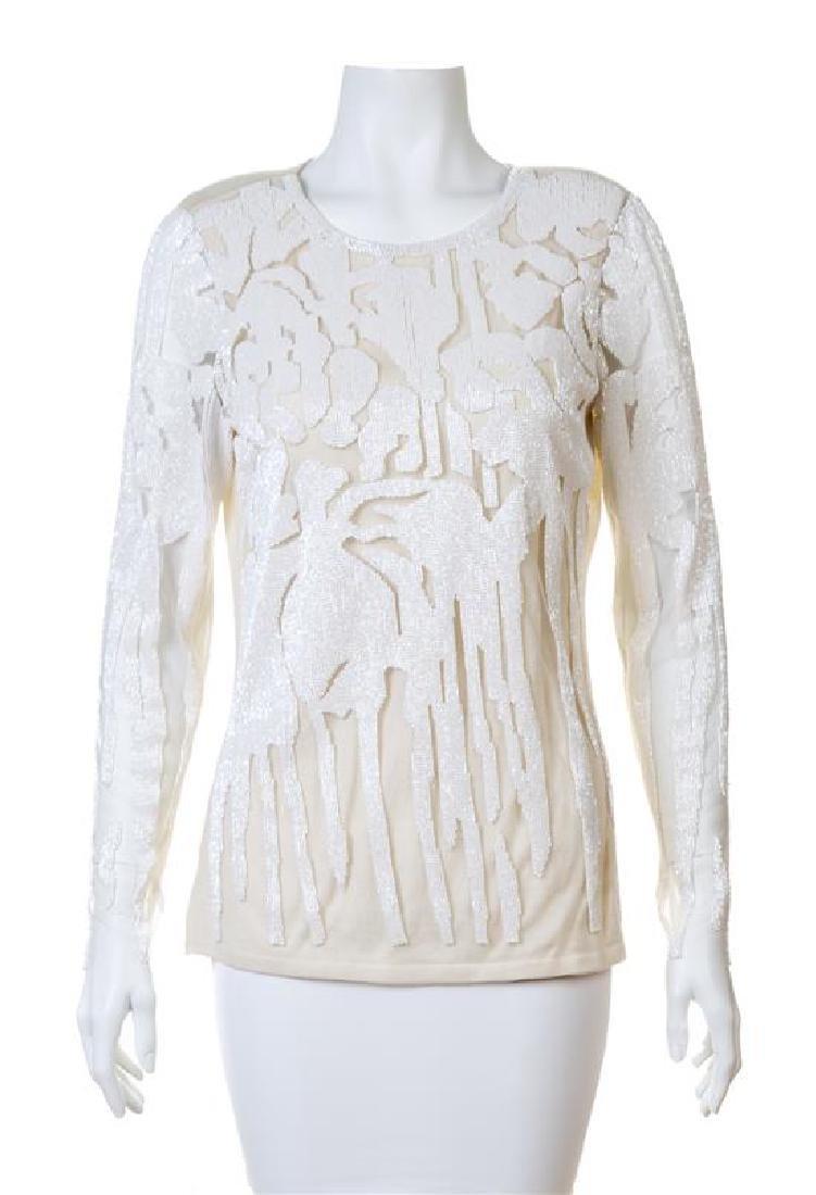 A Naeem Khan Cream Cashmere Beaded Sweater,