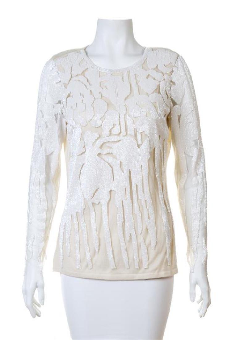 A Naeem Khan Cream Cashmere Beaded Sweater,