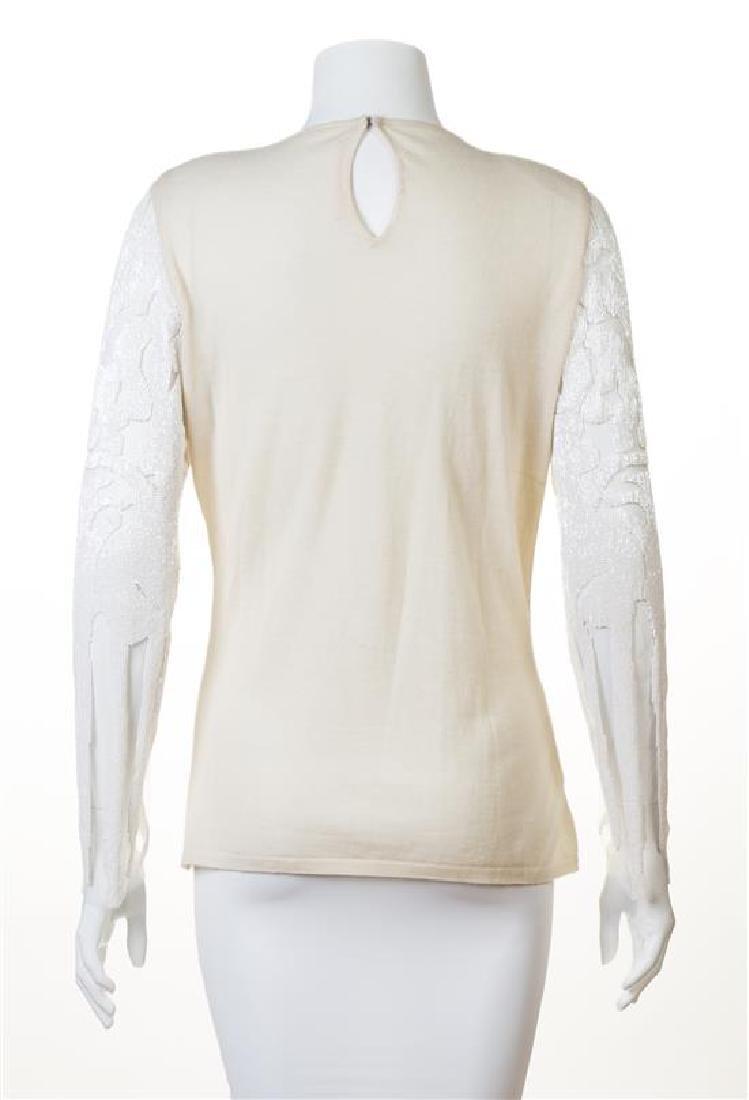 A Naeem Khan Cream Cashmere Beaded Sweater, - 2