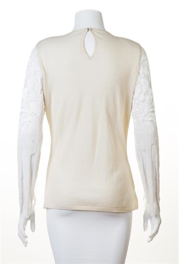A Naeem Khan Cream Cashmere Beaded Sweater, - 2