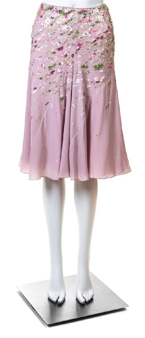A Nina Ricci Pink Silk Floral Beaded Skirt,