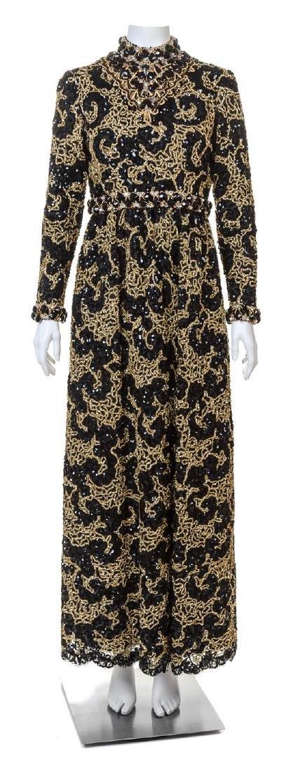 An Oscar de la Renta Black Lace and Gold Gown,