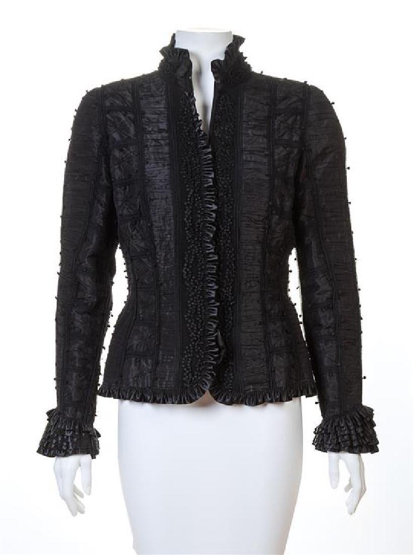 An Oscar de la Renta Black Silk Ruched Evening Jacket,