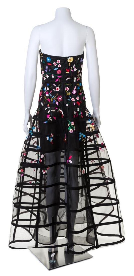 An Oscar de la Renta Black Floral Embroidered Gown, - 2