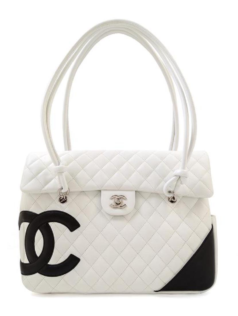 A Chanel White Ligne Cambon Quilted Shoulder Bag,