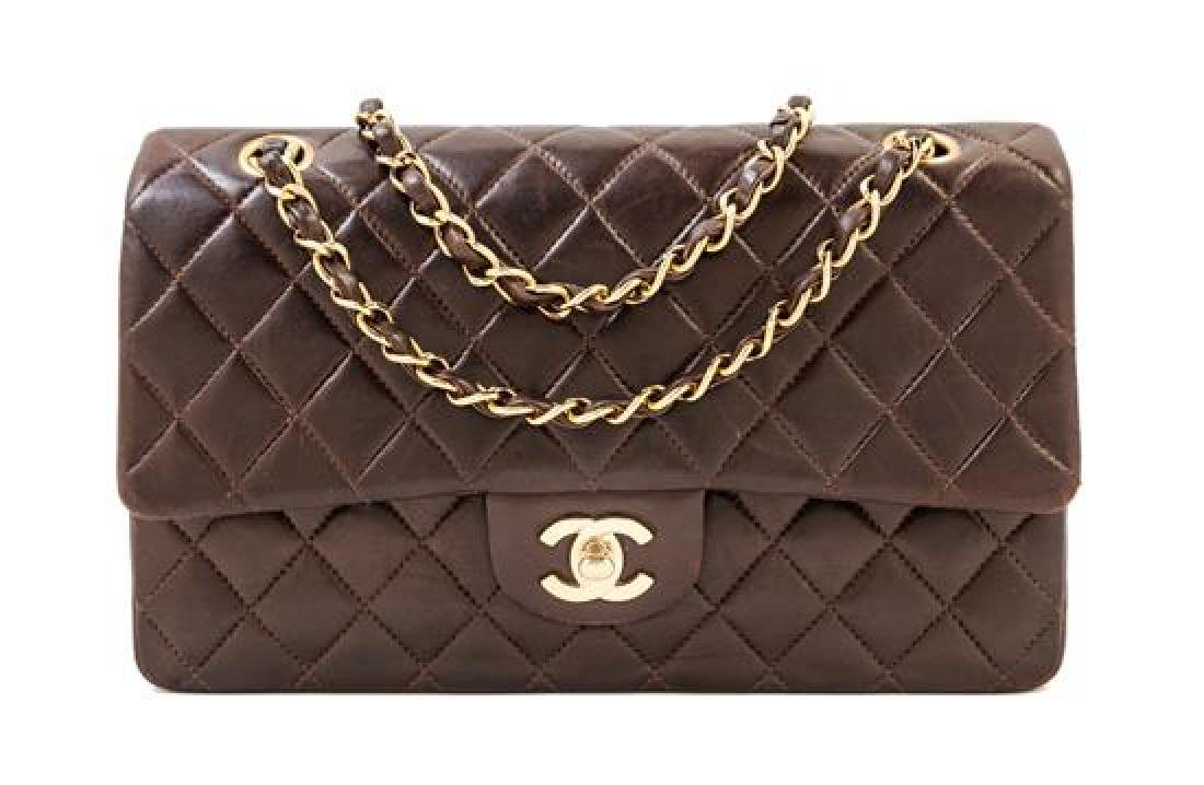 A Chanel Dark Brown Lambskin Quilted Medium Double Flap
