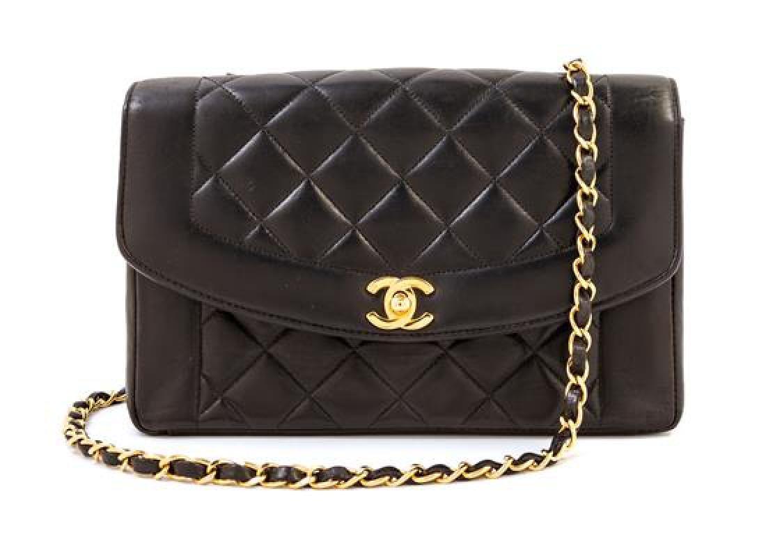 A Chanel Black Lambskin Flap Shoulder Bag,