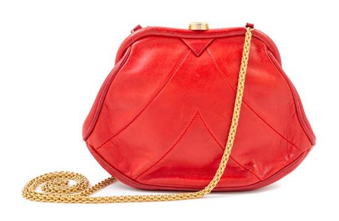A Chanel Red Lambskin Vintage Chevron Handbag,