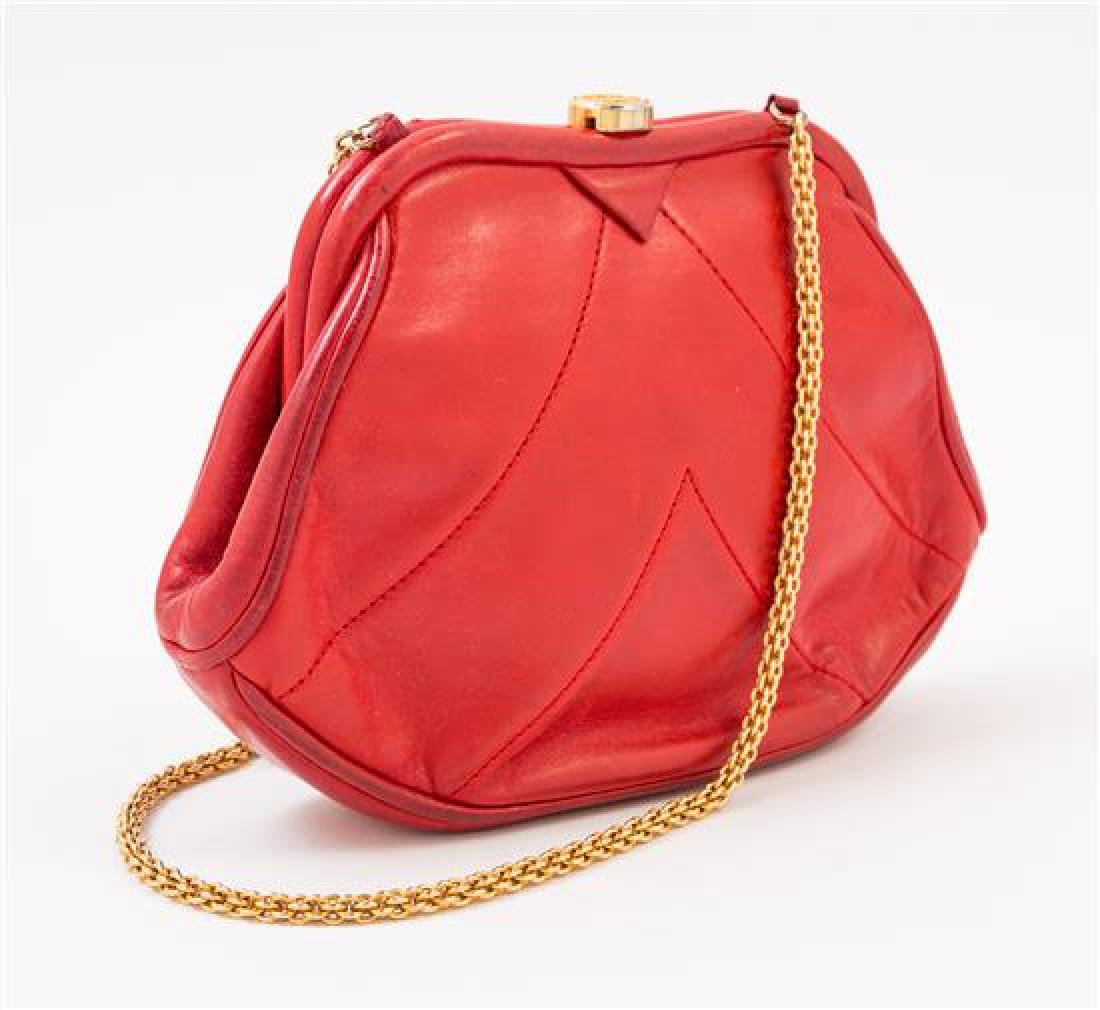 A Chanel Red Lambskin Vintage Chevron Handbag, - 2