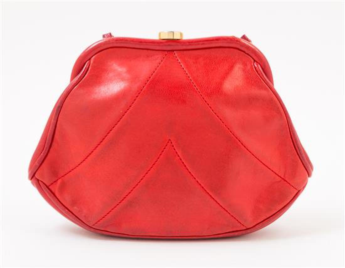 A Chanel Red Lambskin Vintage Chevron Handbag, - 3