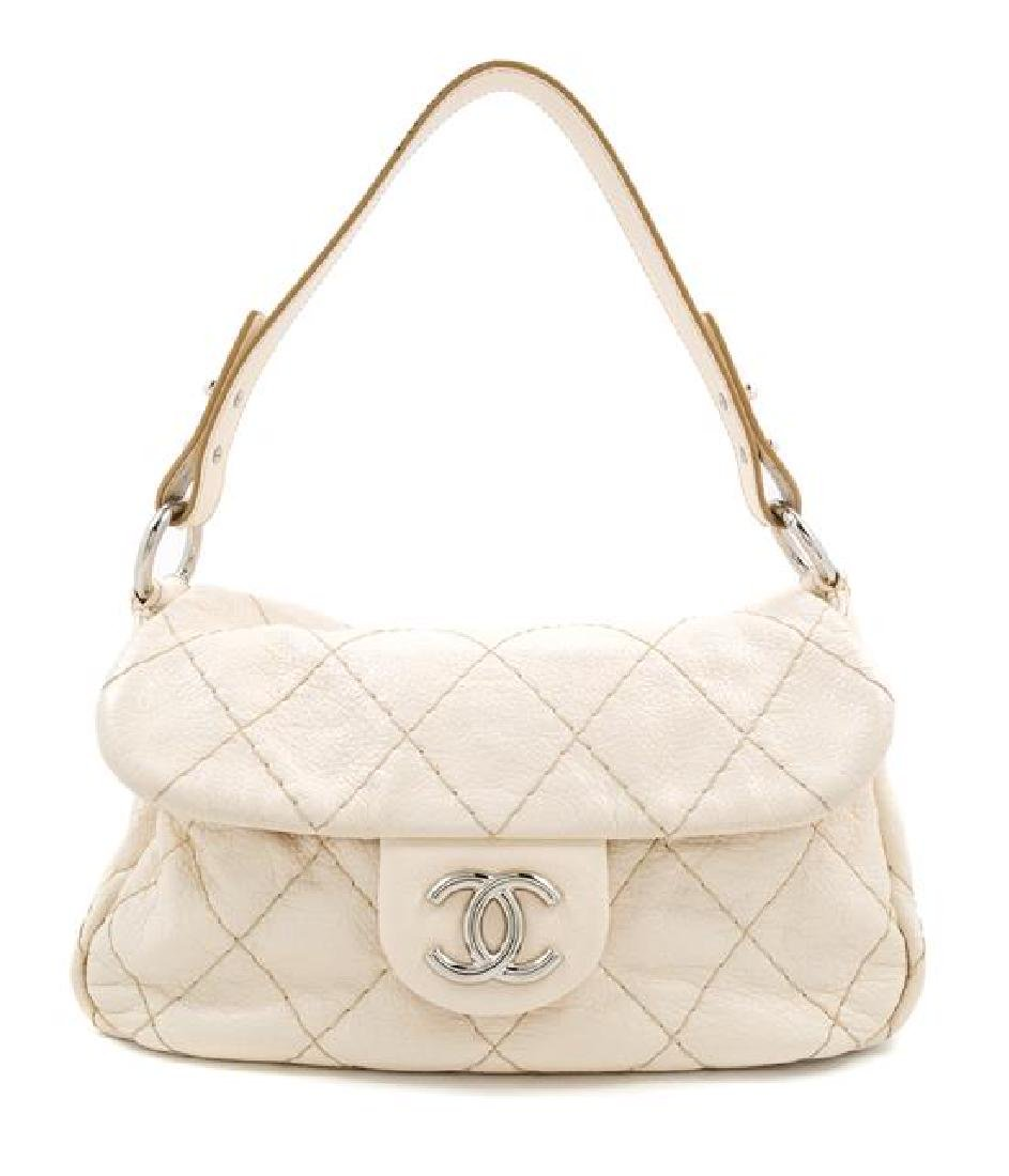 A Chanel Cream Leather Wild Stitch Shoulder Bag,
