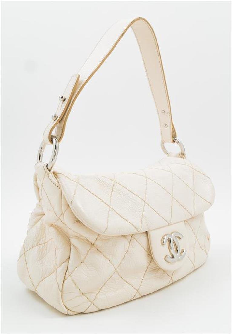 A Chanel Cream Leather Wild Stitch Shoulder Bag, - 2