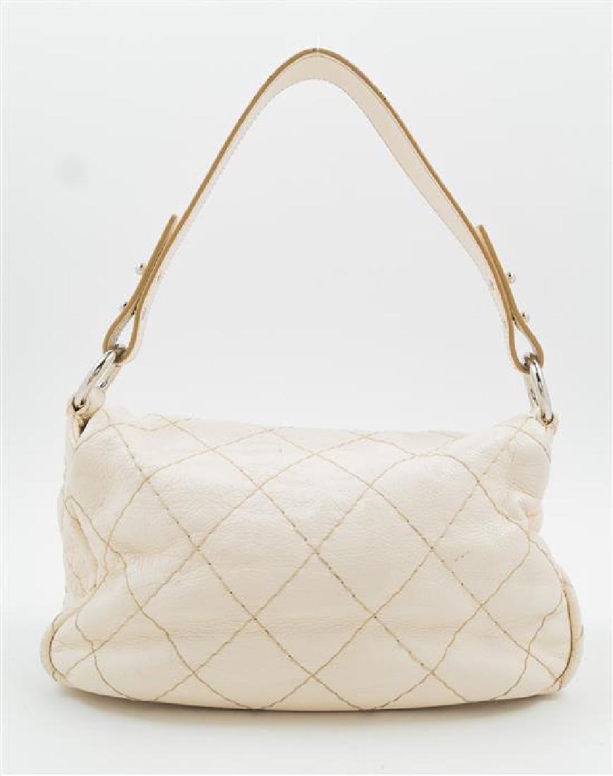 A Chanel Cream Leather Wild Stitch Shoulder Bag, - 3