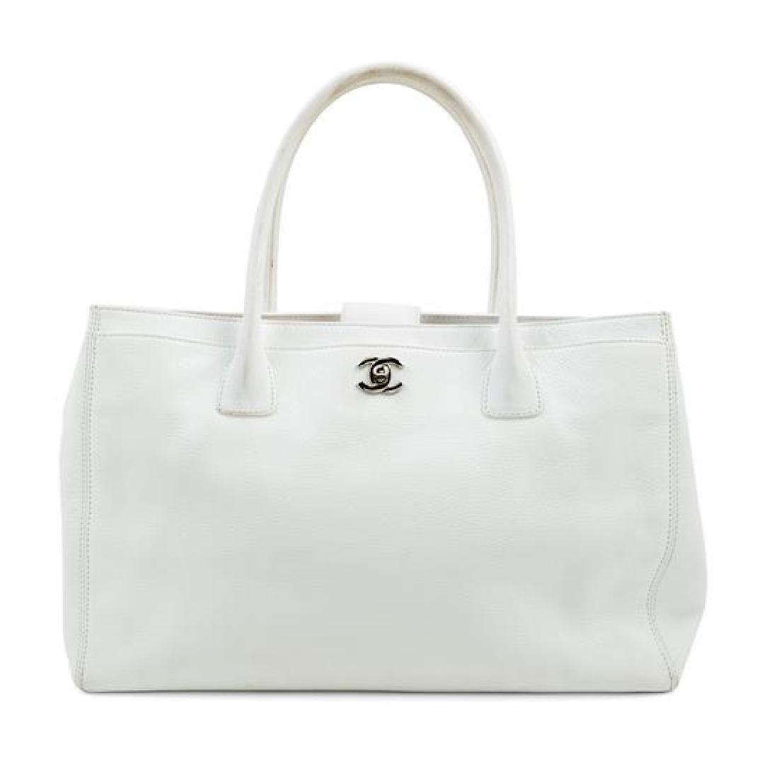 A Chanel White Caviar Tote Bag,