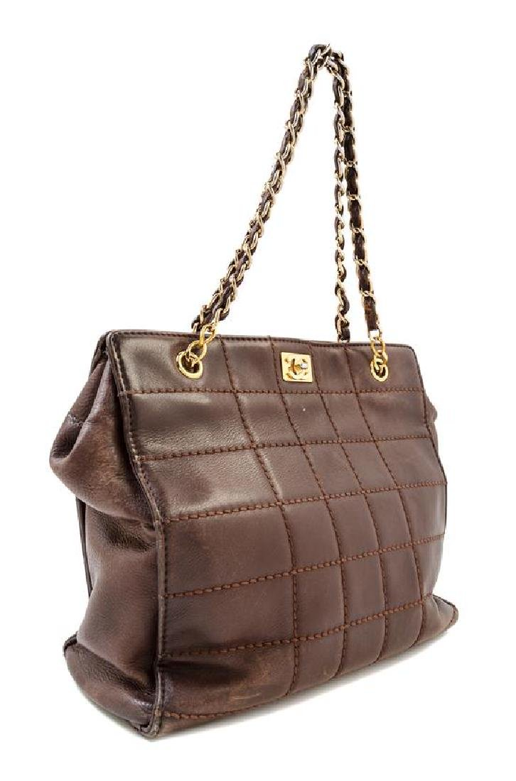 A Chanel Brown Lambskin Square Quilted Tote Bag,