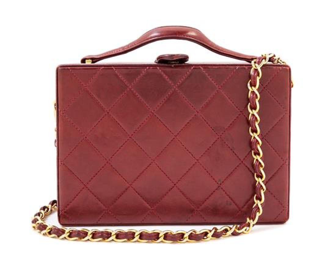 A Chanel Burgundy Lambskin Quilted Box Bag,