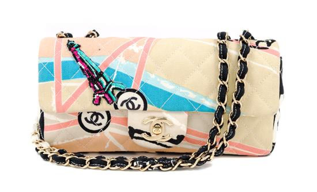A Chanel Eiffel Tower Print Quilted Flap Bag,